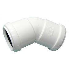 32mm Push Fit Waste 45' Obtuse Bend - White