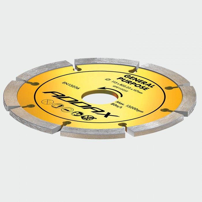 Addax General Purpose Diamond Sintered Blade/Disc (Yellow) (115 x 22.2mm)