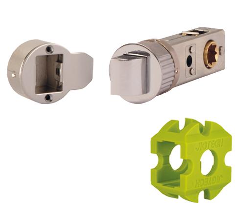 JigTech Smart Standard Passage Tubular Latch - 57mm - Polished Chrome (w/ Round & Rectangular Strike Plate)