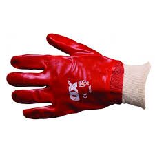 Ox Red PVC Knit Wrist Gloves - Size 10 (XL)