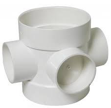 Universal Double Socket - Short Bossed Pipe - White