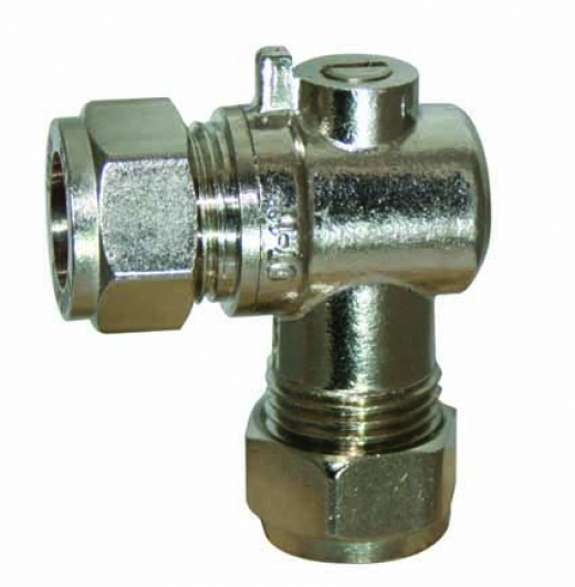 15mm Angled Chrome Compression Isolating Valve