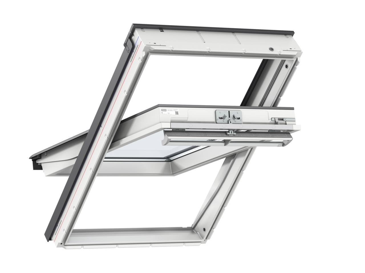 Velux GGU PK08 940 x 1400mm Centre Pivot 66Pane Roof Window - White Polyurethane