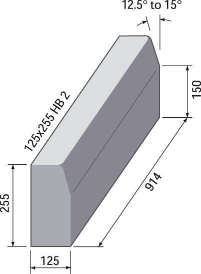 BS HB2 Kerb - 125 x 255 x 914mm