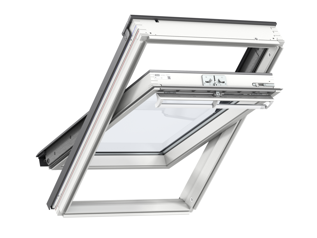 Velux GGL FK06 660 x 1180mm Centre Pivot 70QPane Roof Window - White Painted