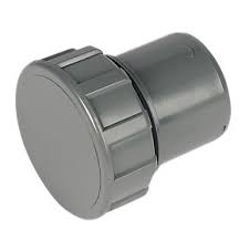 40mm Push Fit Waste Screwed Access Plug - Grey