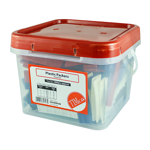 Timco Assorted Plastic 28mm Flat Packers (Tub of 400 Mixed 1-6mm)