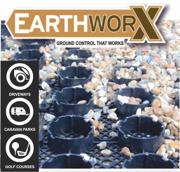 Earthworx 25x500x500mm (0.25m2) Gravelring Aggregate Grid Panel (w/ Mesh Back)