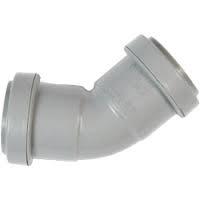 32mm Push Fit Waste 45' Obtuse Bend - Grey