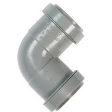 32mm Push Fit Waste 90' Knuckle Bend  - Grey