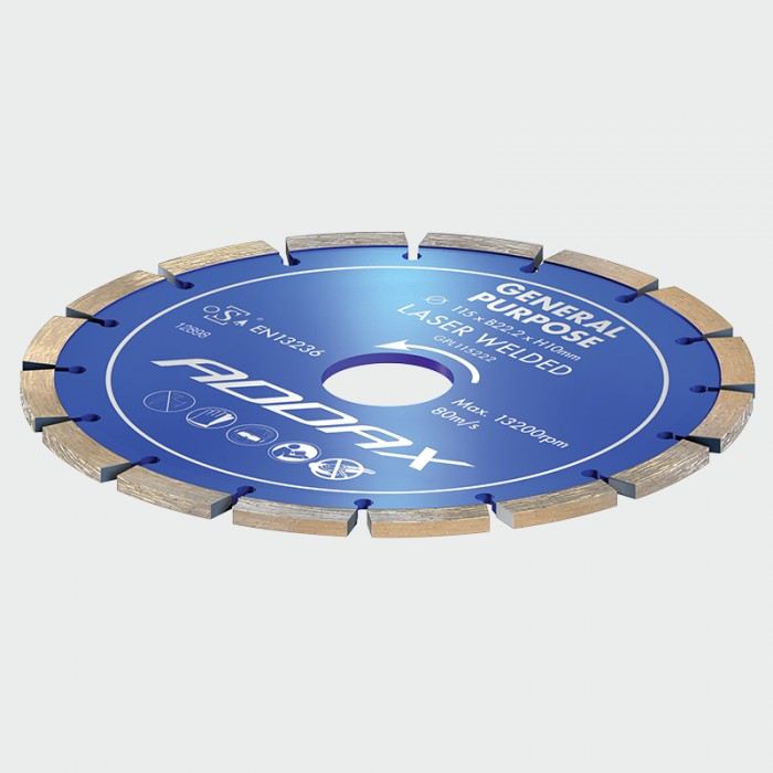 Addax General Purpose Diamond Laser Welded Blade/Disc (Blue) (115 x 22.2mm)