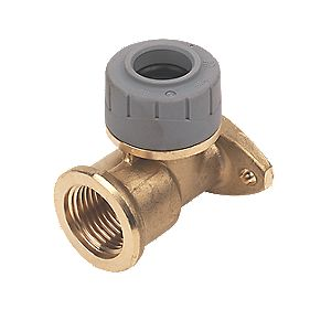 Polyplumb 15mm Wall Plate Elbow Brass