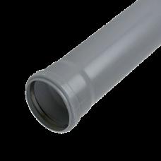 110mm Push Fit 3 metre Single Socket Pipe - Grey
