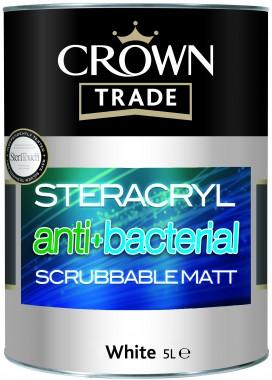 Crown Trade Stercryl Anti-Bacterial Scrubbable Matt Emulsion - White - 5L