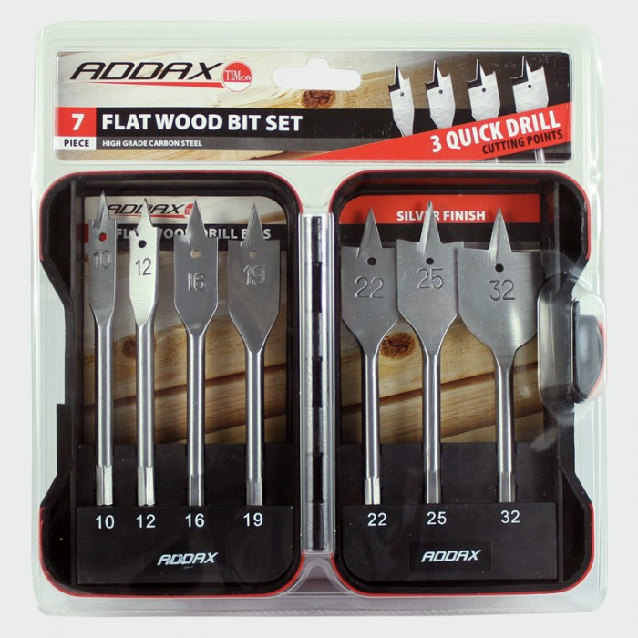 Addax 7 Piece Flat Wood Drill Spade Set