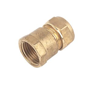 15mm Brass Compression Straight Female Iron to 1/4""