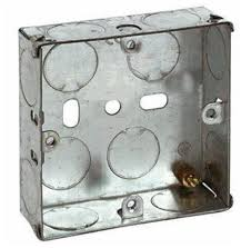 Flush Galvanised Steel Wiring Box - 1 Gang - 25mm