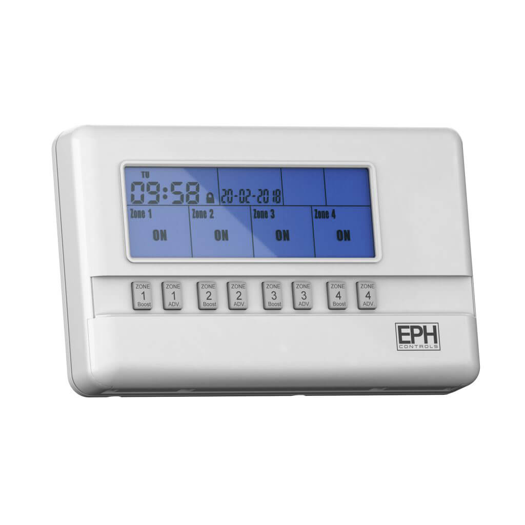 EPH 4 Zone Programmer, 7 Day, 5 / 2 Day or 24 Hour (c/w 230Vac contacts)