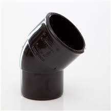 50mm Solvent Weld Waste 45' Spigot Bend - Black