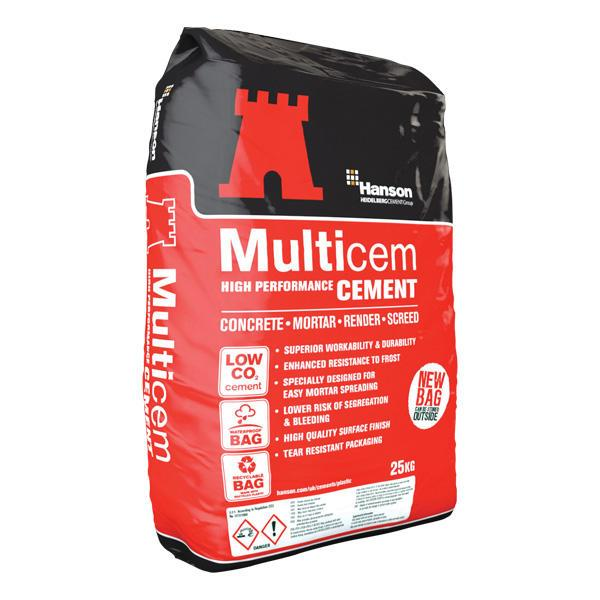 Hanson Multicem Premium General Purpose 32.5N OPC Cement (25kg Plastic)