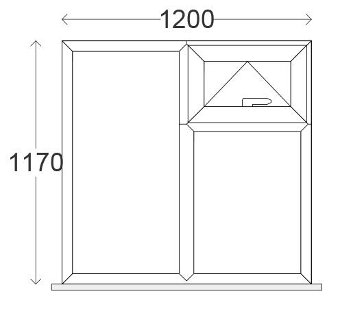 1200 x 1200mm (O/A) Top Hung-Over-Fixed-next-to-Fixed White uPVC Window (w/ 150mm Cill inc horns, 4-20-4 C-Rated Units)
