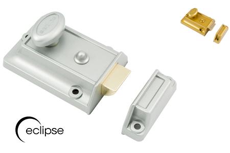 Eclipse Traditional Silver Nightlatch - c/w SCP Cylinder