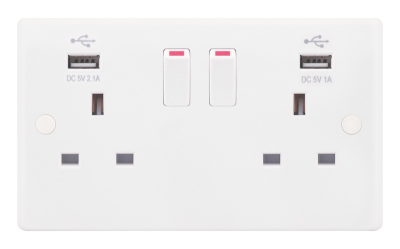 Selectric Smooth 13A Switched Socket Outlet (w/ 2 USB Port: 5V 2.1/1A) - 2 Gang