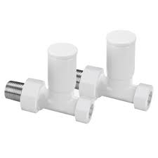 Towel Rail Valves - 15mm Straight - White