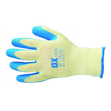 Ox Pro Blue Latex Grip Gloves - Size 9 (L)