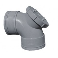 110mm Solvent Weld Double Socket 90'Access Bend - Olive Grey