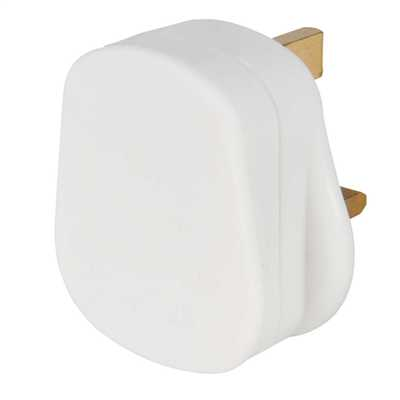 13A Fused White Plastic Plug