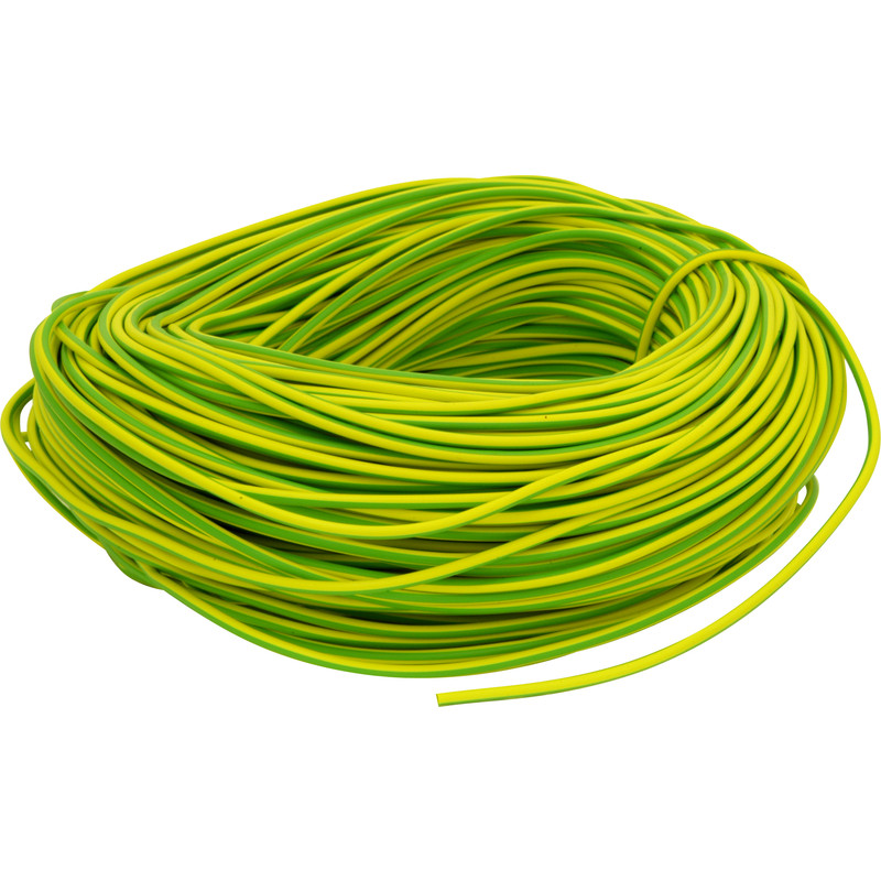 6mm x 100m Green/Yellow PVC Earth Sleeving