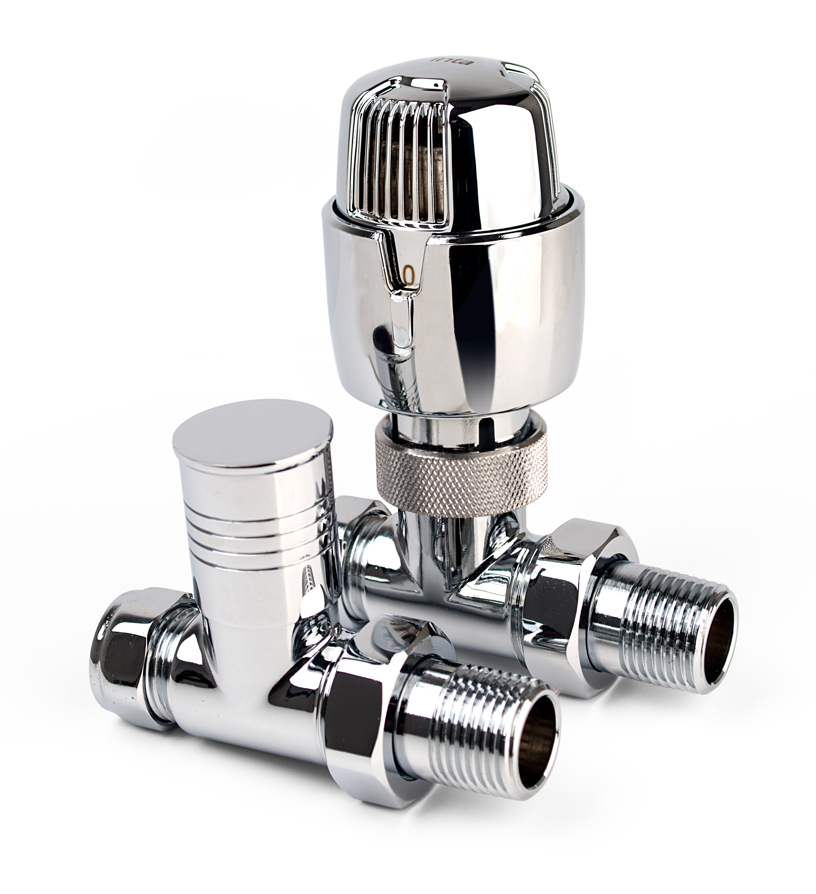 Inta i-Therm 15mm Straight High-Polished Chrome TRV Valve & Lockshield Pack