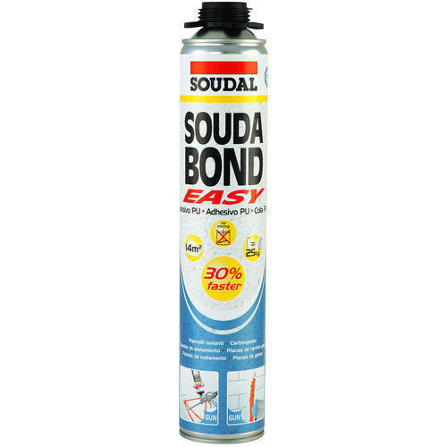 SoudaBond Easy Gun Grade Adhesive Foam (Fixing Foam for Plasterboard, Sheet Material, Concrete) - (750ml)