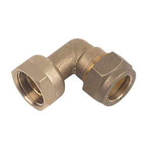 15mm Brass Compression Tap Connector Bent to 1/2""