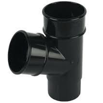 68mm Round Downpipe 112' Downpipe Branch - Black