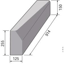 BS HB2 LH Drop Kerb - 125 x 255/150mm