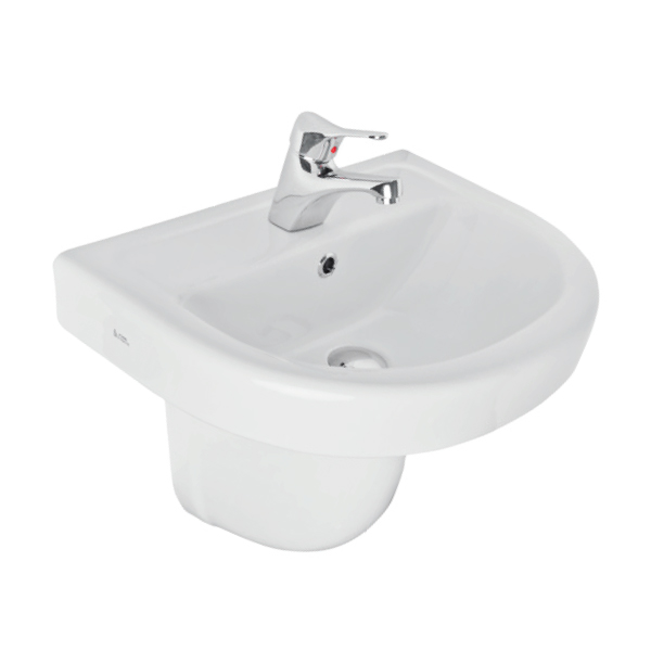 K-Vit Ratio 1TH Basin 550mm & Semi-Pedestal