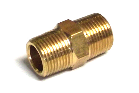 "1/4"" Threaded Brass Hexagon Nipple"
