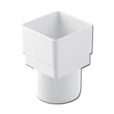 65mm Square Downpipe to Round Downpipe Adaptor - White