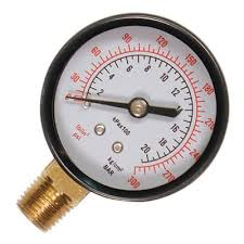 "Safety 0-6bar Pressure Gauge (1/4"" Thread, Bottom Fixing)"