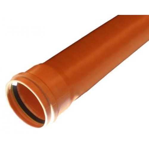 110mm Underground 6m Single Socket Pipe