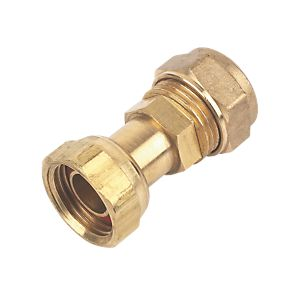 15mm Brass Compression Tap Connector Straight to 1/2""