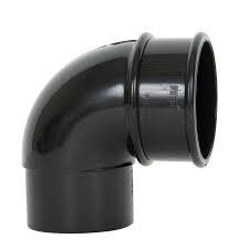 68mm Round Downpipe 90' Downpipe Bend - Black