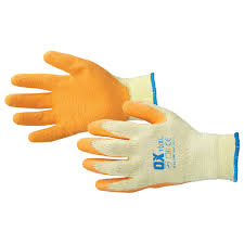 Ox Orange Latex Grip Gloves (Size 9: Large)
