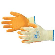 Ox Orange Latex Grip Gloves (Size 9: Large)