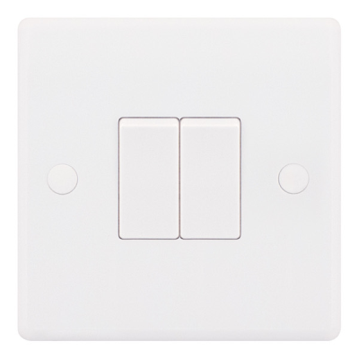 Selectric Smooth 10A Plate Light Switch [X-Rated, ATSA] - 2 Gang, 2 Way