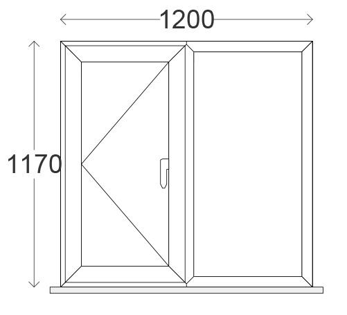 1200 x 1200mm (O/A) Side Hung-next-to-Fixed White uPVC Window (w/ 150mm Cill inc horns, 4-20-4 C-Rated Units)