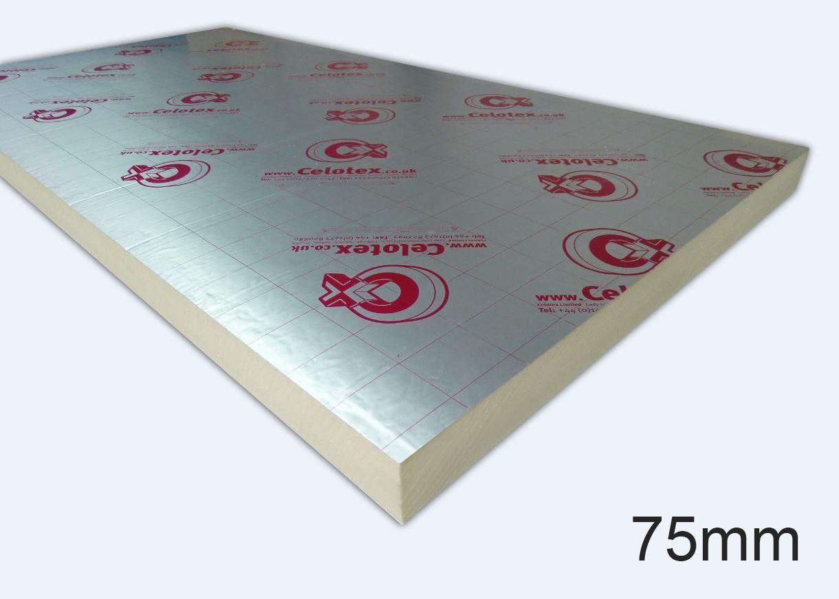 75mm GA4075 PIR Insulation Board 1200 x 2400mm