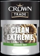 Crown Trade - Clean Extreme Scrubbable Matt Emulsion - White - 5L